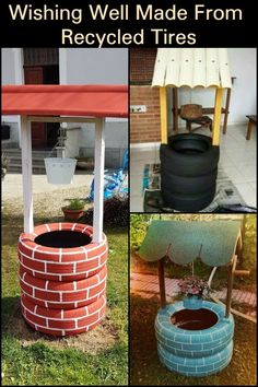 Decorate your garden with this DIY wishing well planter made of recycled tires - Diy Garden Projects Diy Garden Projects, Garden Crafts, Diy Garden Decor, Outdoor Projects, Diy Projects Recycled, Recycling Projects, Garden Decorations, Garden Tips, Tyres Recycle
