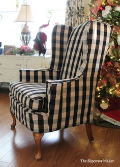 Wing Chair Slipcover In Buffalo Check Slipcovers For