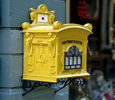 Deutsche Bundespost post box / see inmagine yellow postbox stock images for Antique Mailbox, Vintage Mailbox, Rural Mailbox, Unique Mailboxes, You've Got Mail, Going Postal, Post Box, Trash Bins, Colour Board