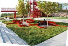 Tianjin Bridged Gardens/Qiao Yuan Park by Turenscape -- Lovely color in the landscape and cool integrated planters with seating