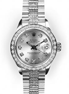 Ladies' White Gold Beadset Diamond Bezel Rolex Super Presidents