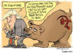 """Columbus (@ColumbusDM)   Twitter   """"Eyes up here"""" por @dcagle vía http://caglecartoons.com  #CaricaturaDelDía #Cartón #Moneros #BuenViernes #Trump #Rusia #EU #Política"""