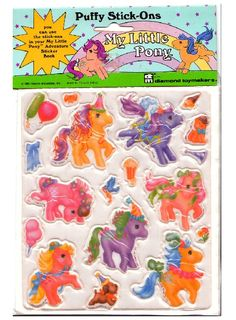 My Little Pony puffy stick ons Vintage My Little Pony, Mlp My Little Pony, My Little Pony Stickers, Monster High School, Special Interest, Album Book, Room Stuff, Cool Stickers, Ol Days