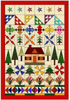 House quilt design with woods, flowers, stars