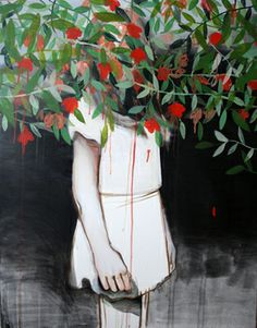 "Saatchi Online Artist Hanna Ilczyszyn; Painting, ""Standing girl "" #art"