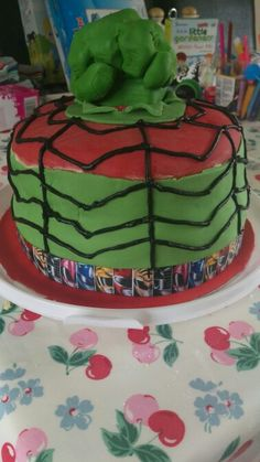 Hulk, spiderman, power ranger birthday cake