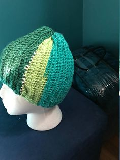 Crocheted three-tone beanie