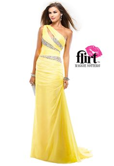 One-shoulder chiffon sheath dress by Flirt with a front keyhole opening and asymmetrical beading. Center back zipper.