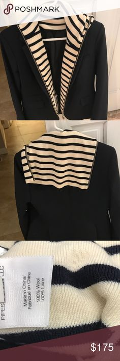 Veronica Beard Navy/Cream Wool Funnel Dickey Like new condition.  Blazer shown with dickey is Veronica Beard classic navy blazer - blazer is not for sale.  Cream wool with navy stripes.  2 way zip.  Perfect condition. Veronica Beard Accessories