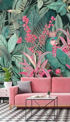 Shop this beautiful King of Parrots mural by Andrea Haase. Bring vivid colour to your surroundings with this beautiful tropical … Parrot Wallpaper, Look Wallpaper, Tropical Wallpaper, Pink Wallpaper Home Decor, Pink Wallpaper For Walls, Salon Wallpaper, Wallpaper Jungle, Interior Wallpaper, Botanical Wallpaper