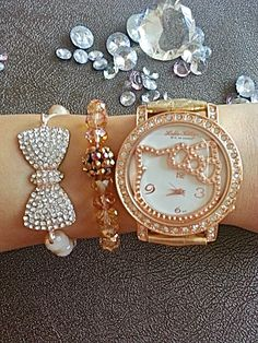 15ee62139 Rose-Gold-Set-Hello-Kitty-Watch-and-Swarovski-Bead-Bracelets-in-gift ...