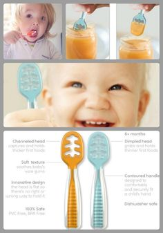 "What is a NumNum? Designed for use with a child's first pureed foods, NumNum Dips are utensils that allow baby to eat independently, while helping baby to develop the skills they need to feed themselves with a traditional spoon.  Why is a NumNum easier for baby to use than a traditional spoon?  The NumNum has a flat head, so there is no right or wrong way to hold it.  Baby can dip it in his/her food at ANY angle, and the NumNum will ""grab"" and ""hold"" the food while baby brings the food to…"