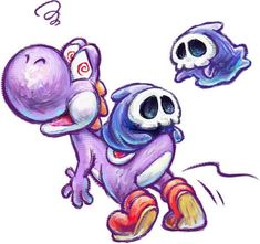 Purple Yoshi and Two Grim Leechers from the official artwork set for #YoshisNewIsland on #3DS. #Mario #Yoshi http://www.superluigibros.com/yoshis-new-island