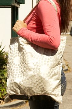Large Beige Polka Dot Grocery Shopping Bag on Etsy, $28.00