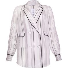 Pre-owned 3.1 Phillip Lim Striped Silk Blazer (5,960 THB) ❤ liked on Polyvore featuring outerwear, jackets, blazers, white, striped blazer, striped jacket, double breasted blazer, blazer jacket and silk jacket