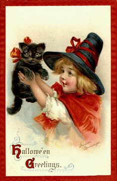 Vintage Halloween Postcards by Suzee Que, via Flickr