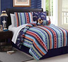 Full 9 PC Reversible Bed in A Bag Set Blues Dog Themed | eBay
