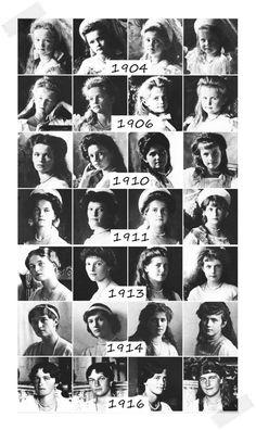 Grand Duchesses Olga Nikolaevna, Tatiana Nikolaevna, Maria Nikolaevna and Anastasia Nikolaevna through the years.