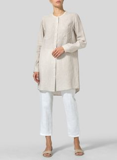 Linen Mandarin Collar Long Shirt -Instant elegance. A clean fashion staple that help dress up every outfits.