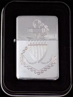 US Coast Guard American Engraved Chrome Cigarette Lighter With Case New LEN-0048