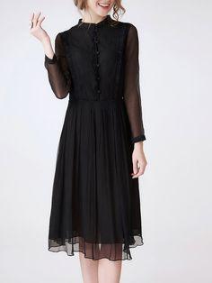 Black Elegant Swing Ruffled Plain Midi Dress