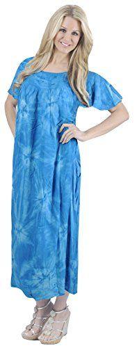 46b57e76ee Women Embroidered Tie Dye Swimwear Beach Caftan T Blue Tie Dye US  14 - 26W  at Amazon Women s Clothing store