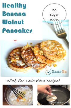 How to Make Healthy Banana Walnut Pancakes in a few minutes! Coconut flavor with no sugar added!