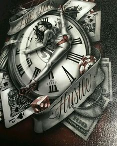 "perfect watch, ""Man's Ruin"" Limited edition of 100 canvas prints will be released later today at pm (LA time). Chicano Tattoos, Chicano Art, Sexy Tattoos, Wolf Tattoos, Body Art Tattoos, Sleeve Tattoos, Clock Tattoos, Tattoo Studio, Arielle Tattoo"