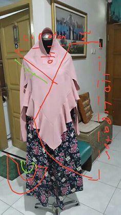Pola1 Mode Abaya, Mode Hijab, Abaya Pattern, Hijab Fashion, Fashion Dresses, Techniques Couture, Muslim Dress, Hijab Tutorial, Islamic Clothing
