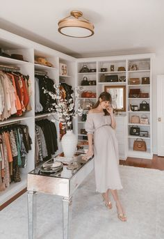 As a part of my home tour, I'm sharing my walk in cloest in today's post. Everything from how we designed the space to. Master Closet Design, Walk In Closet Design, Master Bedroom Closet, Closet Designs, Master Suite, Glam Closet, Closet Vanity, Luxury Closet, Closet Tour