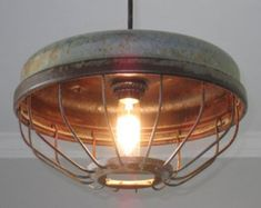 Chicken Feeder Industrial Pendant Light- Vintage, Kitchen lighting, Industrial lighting, Farmhouse lighting by OutoftheWdworkDesign on Etsy Farmhouse Lighting, Industrial Farmhouse, Rustic Lighting, Industrial Loft, Lighting Ideas, Vintage Lighting, Vintage Farmhouse, Modern Farmhouse, Farmhouse Decor