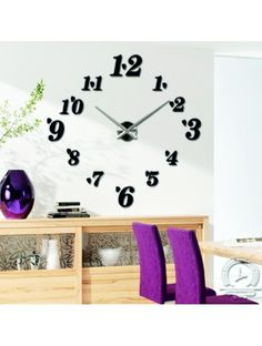 Trends large wall clock - modern stick-clock on the wall. Stylish clock in the kitchen and living room! Wall Installation, Different Colors, Adhesive, Modern, Numbers, Household, Rest, Container, Clock