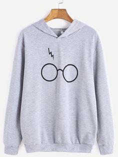 Sudadera con estampado de gafas con capucha - gris