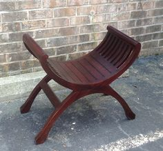 Curved Stool in Mahogany Finish from Solid Teak Wood