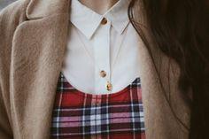 wool coat + tartan dress + white shirt