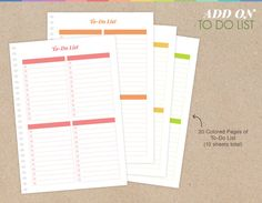 Planner Add-on : To Do List Pages