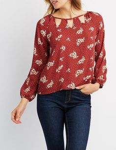 Charlotte Russe Floral Chiffon Cut-Out Top