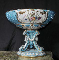 *HERTFORDSHIRE ~ Serves Porcelain Floral Dish Bowl Planter Urn. Large French Serves style porcelain planter on stan or urn.