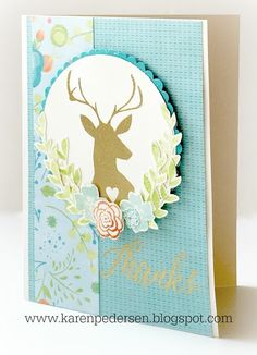 Karen Pedersen: gold embossed deer head and Thanks sentiment ctmh d1683 Woodland Romance stamp set
