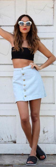 Denim Skirt / Fashion by Ring My Bell