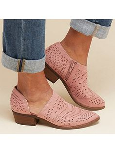 Hollow-out Low Heel Cutout Booties Faux Suede Zipper Ankle Boots herhe – herhershoes Ankle Heels, Suede Ankle Boots, Low Heels, Ankle Booties, Heel Boots, Short Ankle Boots, Women Oxford Shoes, Shoes Women, Women Sandals