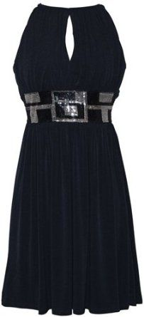 Amazon.com: Stretch Jersey Knee-length Party Cocktail Dress Sequin Trim: Clothing