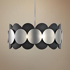 "Zooey 19 1/2""W Textured Black and Satin Nickel Pendant Light"