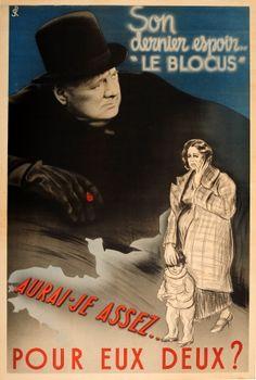 Anti British Churchill Vichy WWII 1940s - original vintage World War Two propaganda poster listed on AntikBar.co.uk