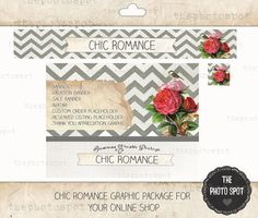 This is almost perfect in so many ways... Chic Romance  etsy shop graphics package. $45.00, via Etsy.