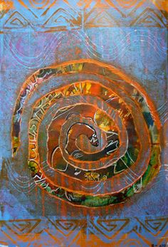 Creative Heartwork These colours have been calling me for some time – desert, heat, earth (O I wish, after this long grey winter). And the snake symbol still powerful for me, still shedding, letting go.  Gelli plate prints in liquid acrylic, torn and collaged paper, hand-made stamps.