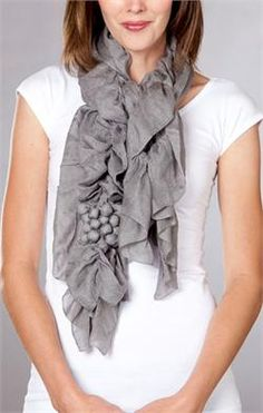 Anthropolgy scarf knock-off, with fabrick colored beads, OR fabric flower option... I like those fabric beads.