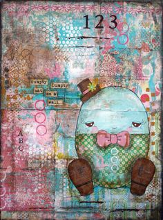 """""""Humpty Dumpty"""" 20X24 art journal page, mixed media collage"""