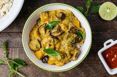 Curry cremoso de lentilha, abóbora e beringela