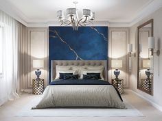 Stunning luxury navy blue and grey bedroom decor with grey tufted bed Luxury Grey and blue bedroom decor with tufted bed Modern Luxury Bedroom, Luxury Bedroom Design, Home Room Design, Master Bedroom Design, Luxurious Bedrooms, Luxury Interior, Luxury Decor, Interior Design, Grey Bedroom Decor